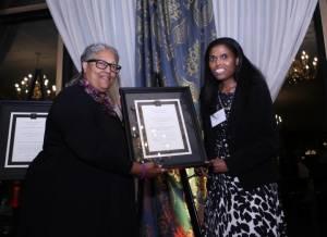 Cynthia accepting award